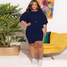 Plus Size Half Sleeve Tie-Up Top And Shorts 2 Piece Sets CYA-1640