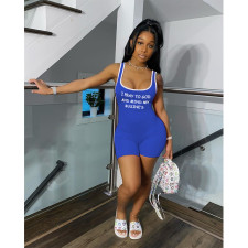 Sports Casual Sleeveless Letter Print Rompers SHE-7267