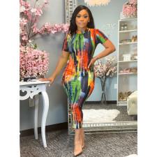 Plus Size Fashion Short Sleeve Print Dress SHE-7264