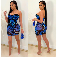 Plus Size Sexy Fashion Print Tube Top Mini Dress SHE-7253