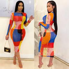 Sexy Printed Long Sleeve Slim Midi Dress CHY-1341