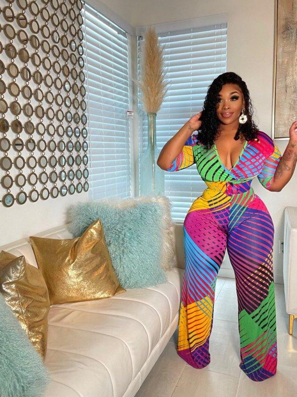 Plus Size Colorful Striped V Neck Belted Wide Leg Jumpsuit LFDF-70018
