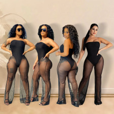 Plus Size Tube Top Mesh See Through Sexy Jumpsuit SHE-7269