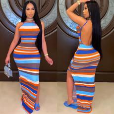 Sexy Striped Backless Spaghetti Strap Split Maxi Dress CHY-1332