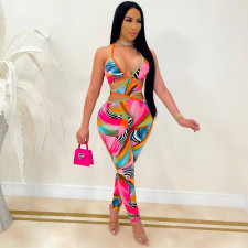 Sexy Printed Hollow Out Backless Cross Strap Jumpsuit CHY-1339
