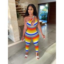 Oblique Shoulder Striped Print Jumpsuit SHE-7272