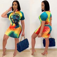 Plus Size Print Zipper Short Sleeve Dress SHE-7247