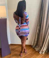 Colorful Striped Long Sleeve Backless Mini Dress YUEM-66722