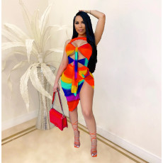 Sexy Rainbow Striped Hollow Bodysuit+Skirt 2 Piece Sets CHY-1331
