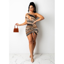 Sexy One-shoulder Printed Hollow Mini Dress SHE-7278