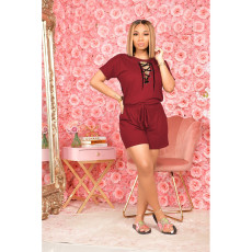 Plus Size Bandage Hollow Out Short Sleeve Shorts Two Piece Sets SHE-7262