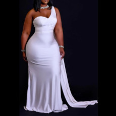 Plus Size Solid Sexy One Shoulder Sleeveless Evening Dress CYA-1632