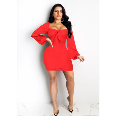 Sexy Long Sleeve Solid Color Mini Dress SHE-7152