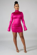 Long Sleeve Solid Color Zipper Dress SHE-7148