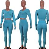 Solid Fitness Yoga Long Sleeve High Waist Pants 2 Piece Sets YIDF-81336