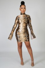 Sexy Fashion Long Sleeve Zipper Snake Print Mini Dress SHE-7149