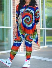 Tie Dye Oblique Shoulder Top And Pants 2 Piece Sets BNNF-09658