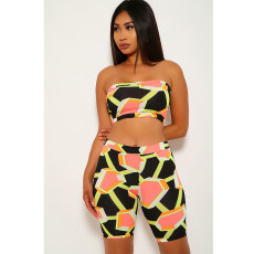 Print Tube Top Shorts Two Piece Sets SHE-7103