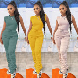Solid Sleeveless Stacked Pants Two Piece Sets SZF-8167