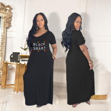 Plus Size Casual Fashion Loose Letter Print Maxi Dress SHE-7175