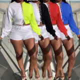 Contrast Color Lace Up Top And Shorts 2 Piece Sets BGN-188