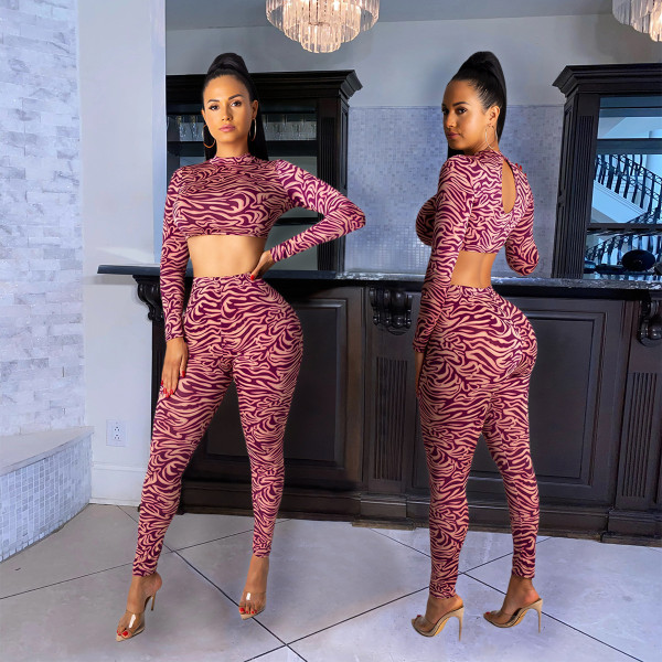 Print Exposed Navel Long Sleeve Top And Pants 2 Piece Sets SHE-7922
