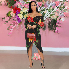 Sexy V Neck Long Sleeve Floral Print Dress YINF-88883