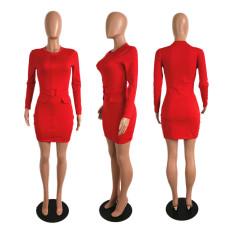 Fashion Long Sleeve Solid Color Mini Dress SHE-7162