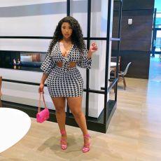 Plus Size Houndstooth Long Sleeve Mini Skirt 2 Piece Sets YFS-10019