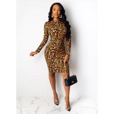 Sexy Fashion Long Sleeve Leopard Print Dress SHE-7125
