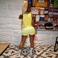 Letter Print Casual Skinny Mini Shorts MLGF-D5034