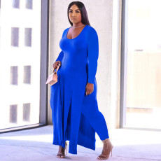 Plus Size Solid Full Sleeve Split Long Top+Pants 2 Piece Suits YMF-86817