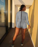 Solid Long Sleeve Two Piece Shorts Set OYF-8278