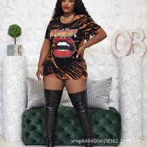 Lip Print Short Sleeve Mini Dress MLGF-D5004