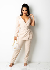 Sexy One Shoulder Belted Blazer Two Piece Suits BS-1283