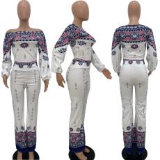 Casual Printed Slash Neck Long Sleeve 2 Piece Suits MNAF-8116