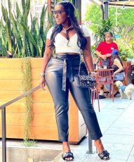 Plus Size Black PU Leather Belted Skinny Pants BLI-2512