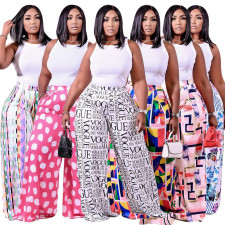 Plus Size Casual Printed Wide Leg Pants ONY-5103