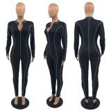 Casual Long Sleeve Zipper Skinny Jumpsuit JRF-3644
