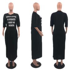 Plus Size Letter Print Half Sleeve Long Dress MLGF-D5007