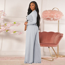 Solid Long Sleeve Wide Leg Pants Two Piece Suits GLF-10013