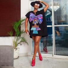 Casual Loose Printed Short Sleeve Mini Dress MLGF-D5044