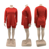 Plus Size Solid Split Long Sleeve Top And Shorts 2 Piece Sets QSF-51029