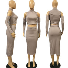 Solid Cold Shoulder Long Sleeve Midi Skirt 2 Piece Sets MLGF-D5019