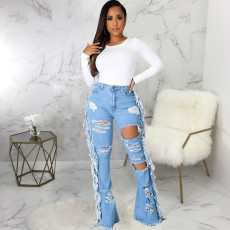 Plus Size Denim Ripped Hole Tassel Flared Jeans HSF-2578