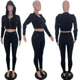 Solid Hooded Zipper Long Sleeve 2 Piece Pants Set YSU-8078