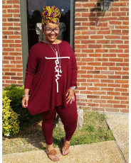 Plus Size Casual Long Sleeve Two Piece Pant Sets WAF-77241