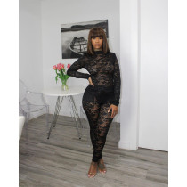 Plus Size Lace Long Sleeve Bodysuit+Pants 2 Piece Sets AWF-5899