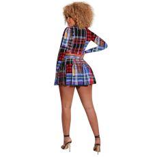 Plaid Print Long Sleeve Mini Skirt 2 Piece Sets MEM-88383