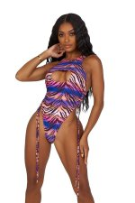 Sexy Printed Drawstring One-Piece Swimsuit MWDF-8321